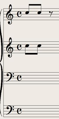 Logic7 スコアウィンドウ › 多声を表示する譜表