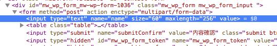 WordPress Plugin 'MW WP Form' テキストフィールドにサイズ属性が付加される